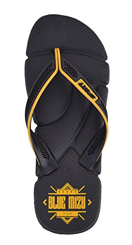 Blue Mizu Sport Flip Flops (Black & Yellow, 42)