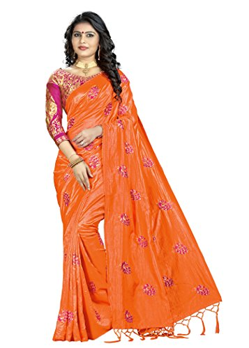 Blissta Orange Women's Silk Embroidered Saree With Contrast Banarasi Jacquard Blouse (Tassels...