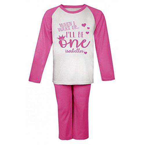 Personalised When I wake up I'll be One Birthday Pyjamas First Birthday Personalised Name Pjs Girls Personalised Pyjamas