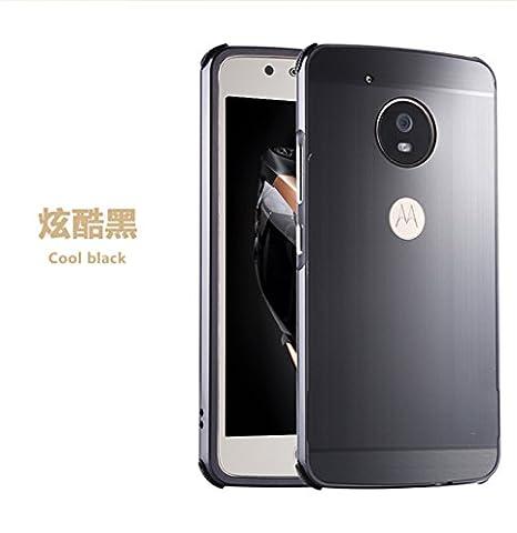Motorola Moto G5 Case, GANGXUN Ultra Slim Premium Detachable Luxury Aluminum alloy Mirror Metal Bumper Frame PC Skin Back and Absorption Anti-Scratch Protective Hard Case Cover for Moto G5 (Black)
