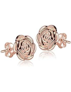 MATERIA Damen Ohrringe Rosen 925 Sterlingsilber Rosegold #SO-254