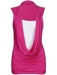 Neuf Pour Femmes Gros col Encolure Réuni Insert De Contraste Femmes Sans Manches Extensible Gilet Long Haut T-Shirt