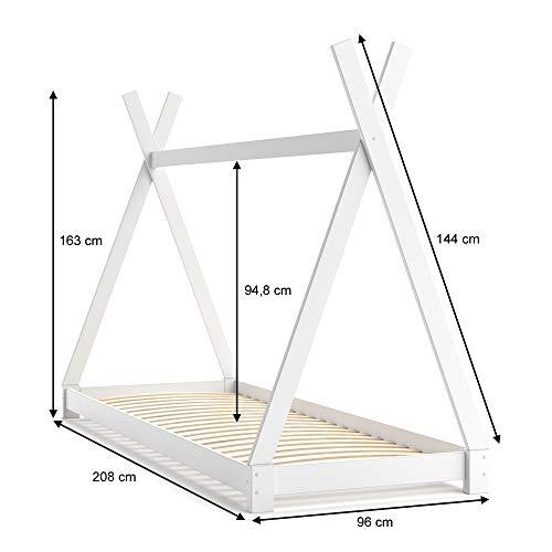 VICCO Kinderbett TIPI Kinderhaus Indianer Zelt Bett Kinder Holz Haus Schlafen Spielbett Hausbett 90×200 (weiß) - 3