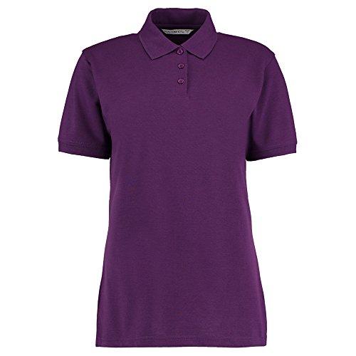 Kustom Kit Damen Modern Poloshirt Gr. 46, dunkelviolett (Pique Shirt Striped Knit Pocket)