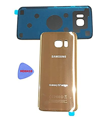 (ergp) Galaxy S7 Edge OEM Gold Rear Back Glass Lens battery door Housing Coque + Adhesive Replacement for G935 g935 F g935 a g935 V g935p g935t with adhesive and Opening Tool