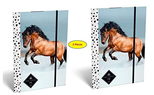 Theonoi süße Pferde 2 x Hochglanz Ordner Mappe / Sammelmappe / Heftmappe / Zeichenmappe / Dokumentenmappe mit Gummizug / Gummiband DIN A4 für Kinder, zum Abheften und Ablegen (Pferd 4)