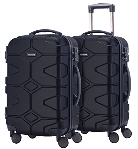 HAUPTSTADTKOFFER - X-Kölln - 2er Koffer-Set Handgepäck Trolley-Set Rollkoffer Reisekoffer, TSA, (S & S), Schwarz matt