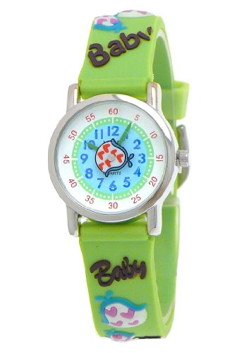 VIVE Kinderuhr,Silikon Armband Uhr mit Baby Schriftzug/Lätzchen/Rassel,Hellgrün/Grün/Türkis/Weiß (Spider Kostüme Baby)