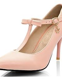 ZQ Zapatos de mujer-Tac¨®n Robusto-Tacones / Puntiagudos-Tacones-Oficina y Trabajo / Casual-PU-Negro / Rojo / Beige , red-us10.5 / eu42 / uk8.5 / cn43 , red-us10.5 / eu42 / uk8.5 / cn43