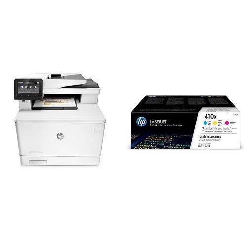 Preisvergleich Produktbild HP Color LaserJet Pro M477fdn Farblaser Multifunktionsdrucker (Drucker, Scanner, Kopierer, Fax, LAN, ePrint, Airpint, Duplex, USB, 600 x 600 dpi) weiß mit passenden Original Tonern