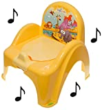 Pot de toilette musical pour bébé enfant fauteuil chaise thème Animaux Safari couleur jaune