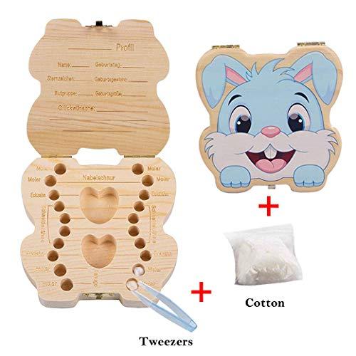 Niedlichen Kaninchen Form/Foto Rahmen Zähne Andenken Box, Baby Holzzahn Aufbewahrungsbox Zähne Handgefertigte Souvenir Box - Andenken-foto-box
