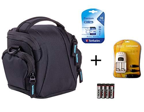 SPARSET - passend für Nikon Coolpix L330 L340 L840 B500 : Tasche + 16GB SD Speicherkarte + Ladegerät für AA Akkus + 4X NiMH Akkus (Coolpix Für Digitalkamera L330 Tasche Nikon)