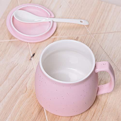 HJSGXC Keramikschalenfrühstückschalenpaarschalen-Kaffeetasse-Milchschale mit Deckel mit Löffel Teeschale Büroschalen-Schalenrosa