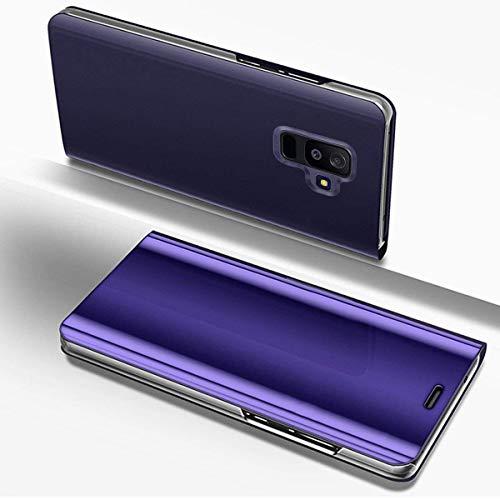Hülle Kompatibel mit Samsung Galaxy A6 Plus 2018 Spiegel Handyhülle Ledertasche Luxus Überzug Mirror Case Clear View Flip Cover Hülle Bookstyle Handyhülle Lederhülle mit Standfunktion,Lila