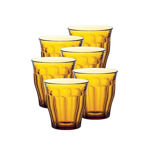 Duralex 1028DB06/6 Estuche 6 Vasos Agua Picardie Ambar 31 CL, 0.31 litros, Cristal