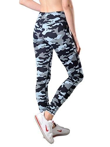Queenie Ke Women Power Stretch Plus Size High Waist Yoga Pants Running Tights Size L Color Blue Camo