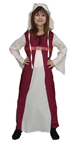 Preisvergleich Produktbild Leonardo Carbone Mittelalter Kleider kleine Maid - Kinder Adelskleid - Kinder Piccola Donna XXXS/rot / natur