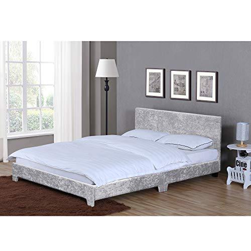 Home Discount Victoria King Size Bett 5ft Bettgestell Gepolstert Textil Kopfgestell Schlafzimmer Möbel Silbern SAMT von Vida Designs