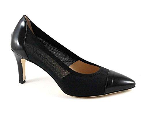 MELLUSO D088V nero scarpe donna decolletè punta vernice + tessuto forato Nero
