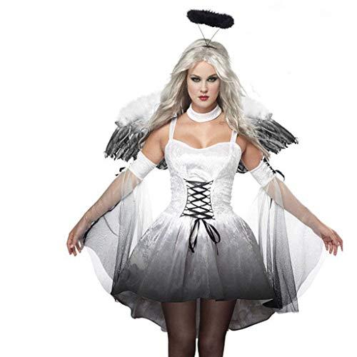 Trisee Damen Halloween Cosplay Kostüm Sexy Kurz Party Kleid Aushöhlen Festliche Kleid Engel Cosplay Creolen, Flügel und Kleid 3pcs - Teenager Engel Kostüm