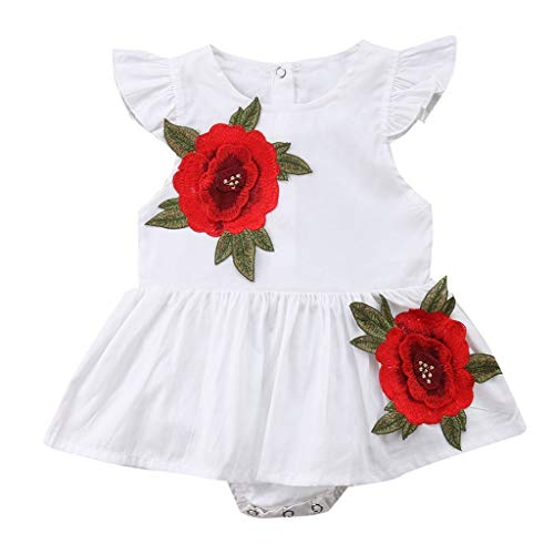 TICOOK Strampelanzug für Kleinkinder und Mädchen, mit Fliegenarm, Rosenmuster Gr. 70 cm (3-6 Monate), weiß -