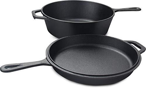 Utopia Kitchen Cocina combinada de hierro fundido 2 en 1 con olla de 3.2 cuartos de galón y sartén de 10.25 pulgadas.