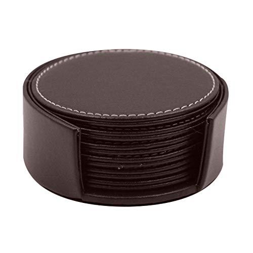 Luckiests Schwarz Braun PU-Leder-Coaster Round Insulated Platzdeckchen Hitzebeständige Kaffeetasse Mat Heim Clud Supplies