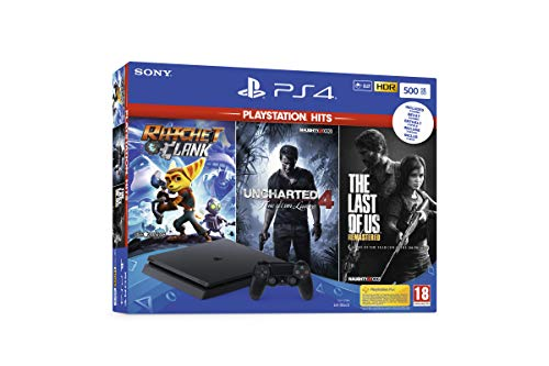 PS4 500 GB + Ratchet & Clank + The Last of Us Remastered + Uncharted 4