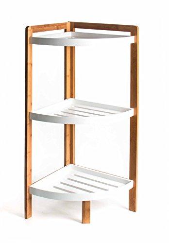 Preisvergleich Produktbild Bambus Eckregal, Materialmix mit MDF, 3 Fächer mit Rand, luftiges Design, Höhe ca. 80 cm