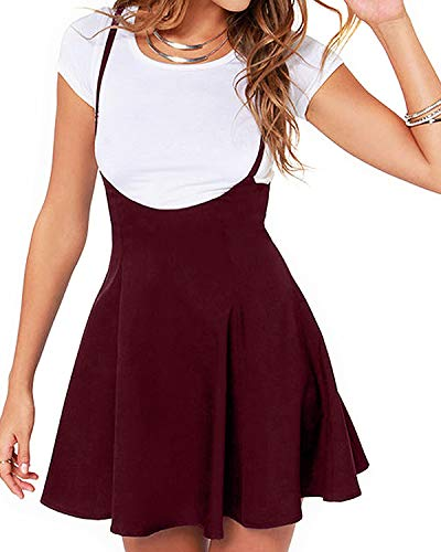 YOINS Rock Damen Mädchen Minirock Kawaii A Linie Mini Skater Rock Kleider für Damen Minikleid Skaterkleid (Rock-Rotwein, EU32-34)