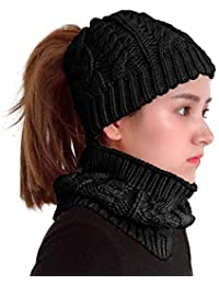 Supstar Femmes Tricot Beanie Chapeau Hiver Bonnets Chunky Épais Stretchy  Slouchy Chapeau de Laine Skull Cap Avec Trou pour Queue de… b2a6232042a