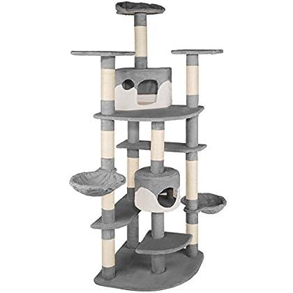 TecTake Rascador Para Gatos Árbol Para Gatos Trepar Sisal Juguetes 204cm - disponible en diferentes colores - (gris blanco | no. 402109)