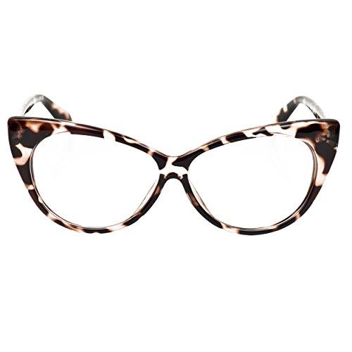 iB-iP Damen Cateye Brillen Mit Klarer Linse, Leopard
