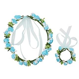 A-szcxtop Brautschmuck Blumen Girlande Kopfband Haar Kranz mit Handgelenk Band Set für Brautjungfer & Blume Mädchen auf Hochzeit Festival, Größe Verstellbar, mit Band Blau