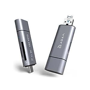 Adam Elements Casa Series - SD / MicroSD Speicherkartenleser, USB 3.1 Type-C / Type-A und USB 2.0 Micro USB für PC, Laptop und Smartphones / Tablets mit OTG | Echte 4K-Video Unterstützung | Grau