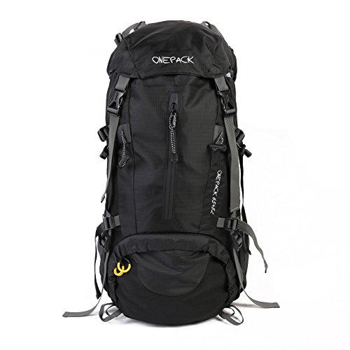 Imagen de  de senderismo 70l  de nylon impermeable  al aire libre   con cubierta de lluvia y varillas de aluminio para viajar escalada alpinismo negro