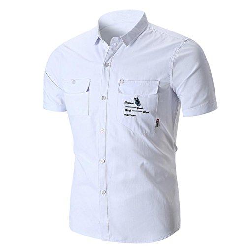 Longra Herren Hemd Kurzarmhemd Regular Fit Kentkragen Hemden Brusttasche Bügelfreie Hemden...