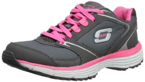 Skechers Womens Agility Rewind Charcoal/Hot Pink Low-Top Trainers 11696 4 UK, 37...