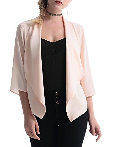 Abollria Damen Chiffon Cardigan Elegant Blazer Leicht Dünn Längere Bolero Farbe:-Apricot Gr:-S