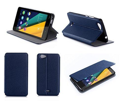 Wiko Pulp Fab 3G / 4G 5.5 zoll Tasche Leder Hülle blau Cover mit Stand - Zubehör Etui Wiko Pulp FAB 3G / 4G Flip Case Schutzhülle (PU Leder, Handytasche blue) - XEPTIO accessories