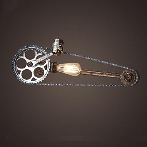 Preisvergleich Produktbild Zahnrad-Wand-Lampe industrielle Steampunk Wand-Lichter Weinlese-Wand-Lampen-Maschine Alter Wasser-Rohr-Wand-Sconce mit Metallkäfig-Lampen-Schatten-Höhe: 59 Cm
