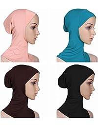 Ksweet 4 X Pañuelo Sombrero Mujeres Musulmanas Hijab Deportes y aire libre Bufanda de Cuello Pañuelos de Cuello Vestir Hueso Bajo Scarf (Light blue+Black+KQ+Light brown)