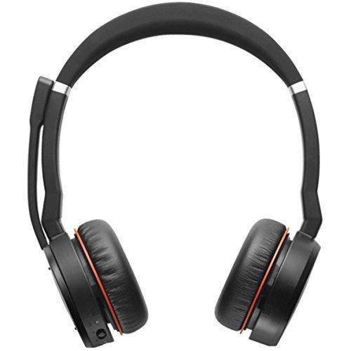 Jabra Evolve 75 Bluetooth Headset Bundle | suppression Active de l'environnement | Dongle USB, Bonus adaptateur secteur | certifié Ms-skype/Lync | téléphonie, smartphones, PC/Mac | 7599-832-199-b