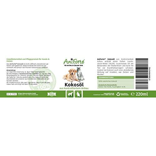 AniForte Kokosöl aus kontrolliertem Anbau 220 ml - Naturprodukt für Hunde und Katzen -