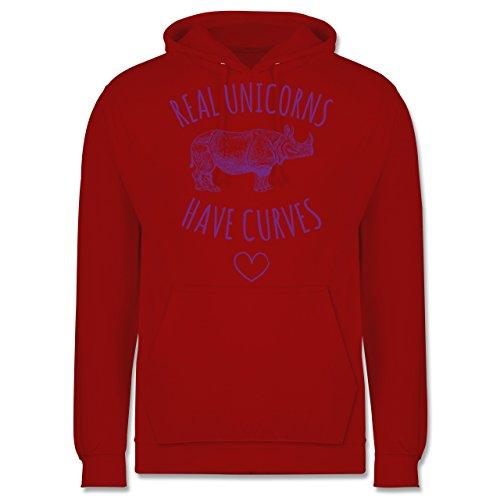 Statement Shirts - Real unicorns have curves - Männer Premium Kapuzenpullover / Hoodie Rot