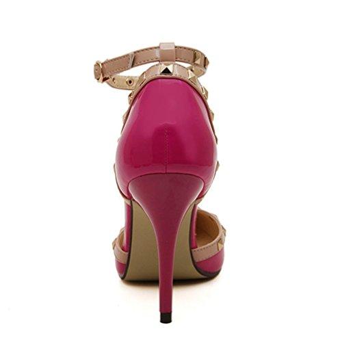 YMXJB Europe et rivet pointu couleurs mélangées de sandales dans chaussures talons hauts pour femmes Pink