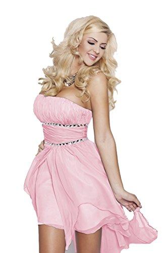 AmazingGirl 17 Sexy Abendkleid Vokuhila Korettkleid Festkleid Ballkleid Abschlusskleid Asymmetrisch Schleppe Hohzeit Hellrosa