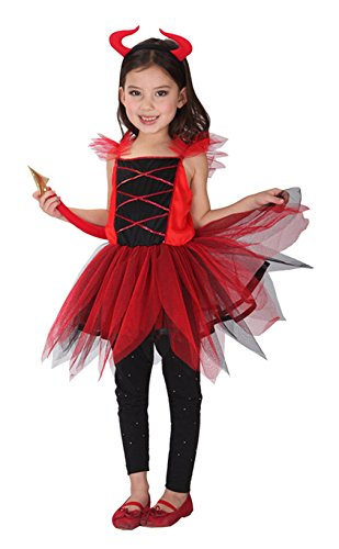 GEMVIE Teufel Kostüm Mädchen Halloween Teufelkleid Karneval Verkleidung Kinder Körpergröße 120-130cm (Ein Teufel Kostüm Mädchen)