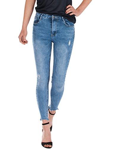 Fraternel Damen Jeans high Waist Skinny Röhrenjeans Destroyed Stretch 38/M High Rise Flare Jeans